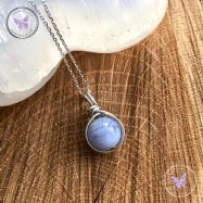 Blue Lace Agate Wire Wrapped Pendant